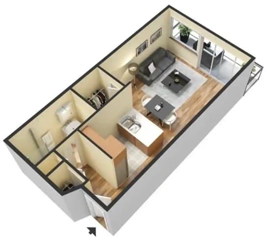 Studio_A(1) Floor Plan at 55+ FountainGlen Goldenwest Senior Apartments, Westminister, CA
