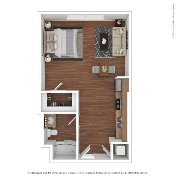 Floor Plan  Studio Apartment Metro Gateway 3411 Grande Vista Pkwy  Riverside, CA 92503