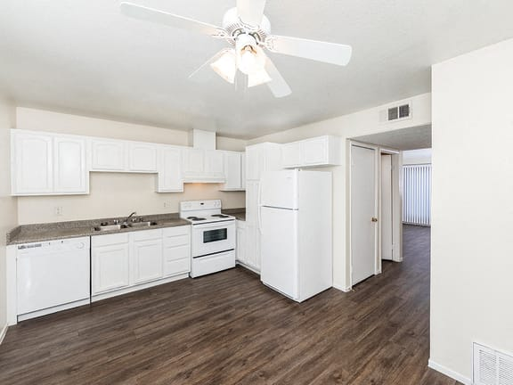 Open concept kitchen at Woodcreek Apartments in Las Vegas