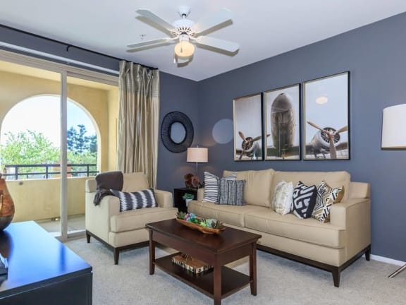Living Room With Private Balcony at Meridian Place, Northridge, California