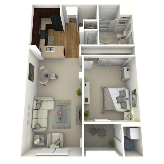 Floor Plan for the 101 1 bedroom, 1 bath