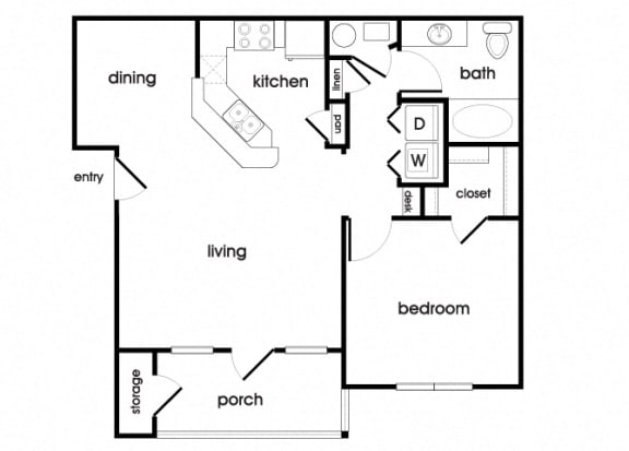 Floor Plan  A1 Floorplan at Longwood Vista Apartments in Doraville, GA