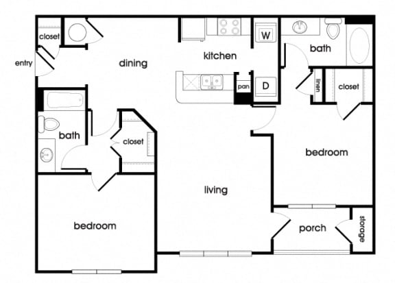 Floor Plan  B1 Floorplan at Longwood Vista Apartments in Doraville, GA