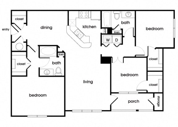 Floor Plan  C1 Floorplan at Longwood Vista Apartments in Doraville, GA