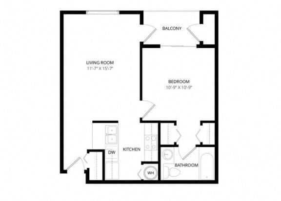 Bayview Apartment Homes Federal Way, Washington 1 Bedroom 1 Bath Floor Plan