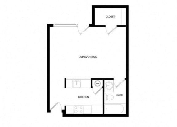 Bayview Apartment Homes Federal Way, Washington Studio Floor Plan