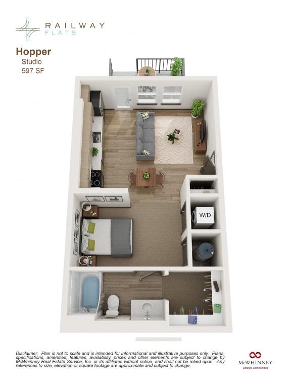 Hopper Floor Plan - Studio