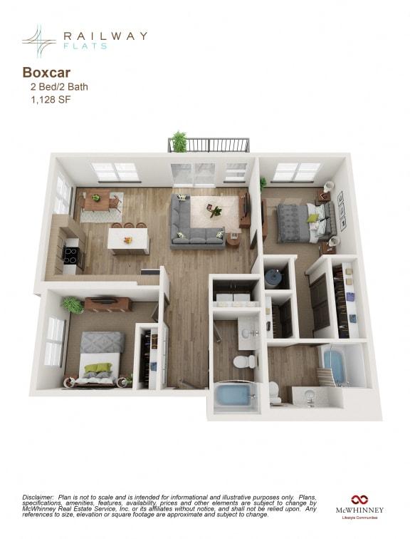 Boxcar Floor Plan - 2 Bed/2 Bath