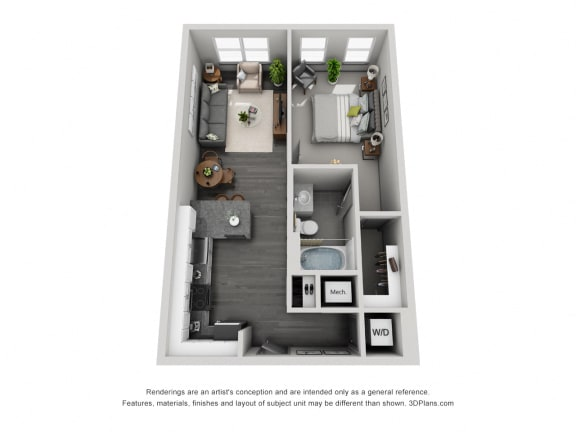 1a10/1b10 Floor Plan at 1400 Chestnut, Chattanooga, 37402