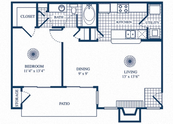 Floor Plan  A2 floorplan at Tivoli Apartments in Dallas, Texas