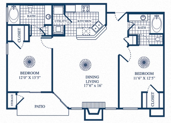 Floor Plan  B1 floorplan at Tivoli Apartments in Dallas, Texas