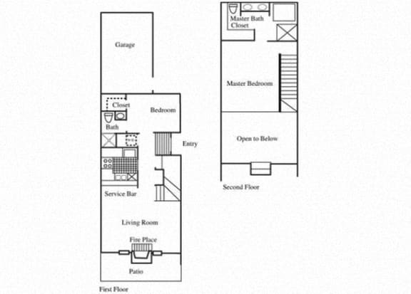 Floor Plan  TH1 floorplan at Tivoli Apartments in Dallas, Texas