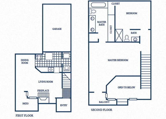 Floor Plan  TH2 floorplan at Tivoli Apartments in Dallas, Texas