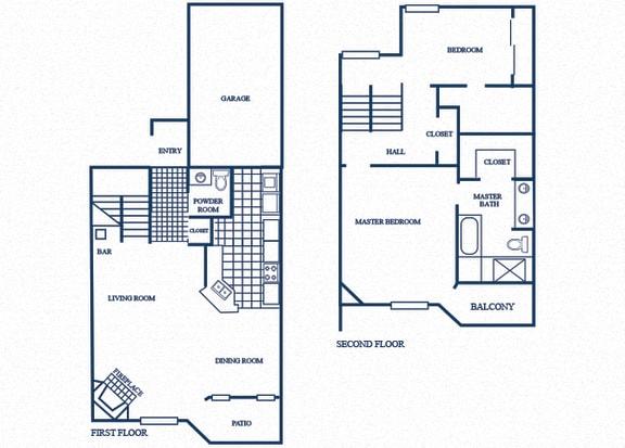 Floor Plan  TH5 floorplan at Tivoli Apartments in Dallas, Texas