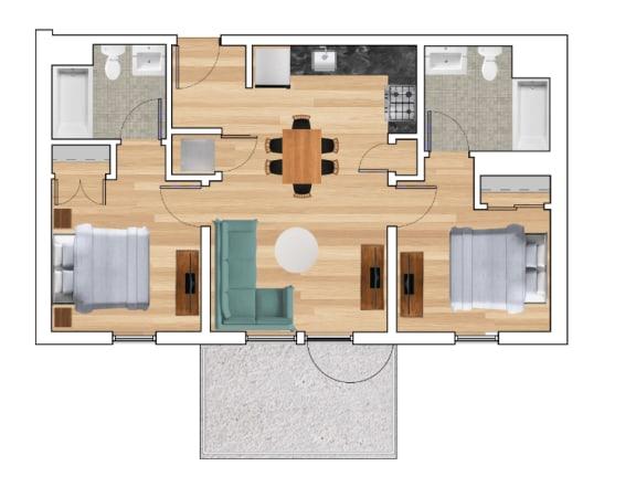 2 Bedroom B Floor Plan at Block C, San Marcos, CA