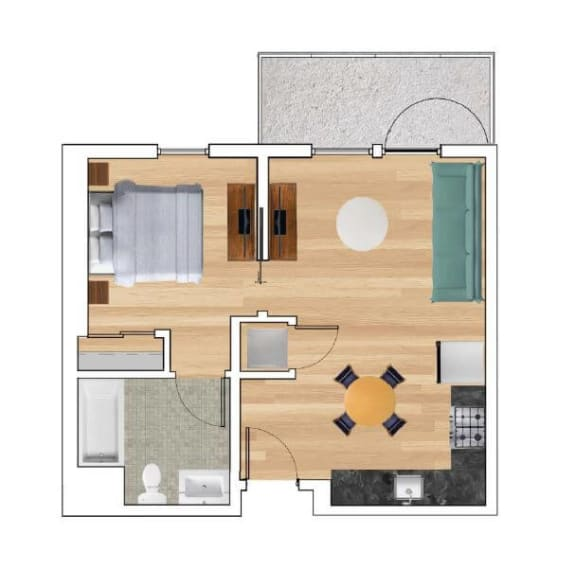 1 Bedroom A Floor Plan at Block C, California