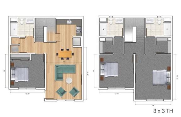 Townhouse 3 Bedroom AK Floor Plan at Block C, San Marcos, CA, 92078