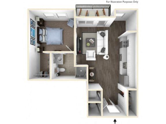 275.1B-B 3D Floor Plan at The George & The Leonard, Atlanta, GA, 30312
