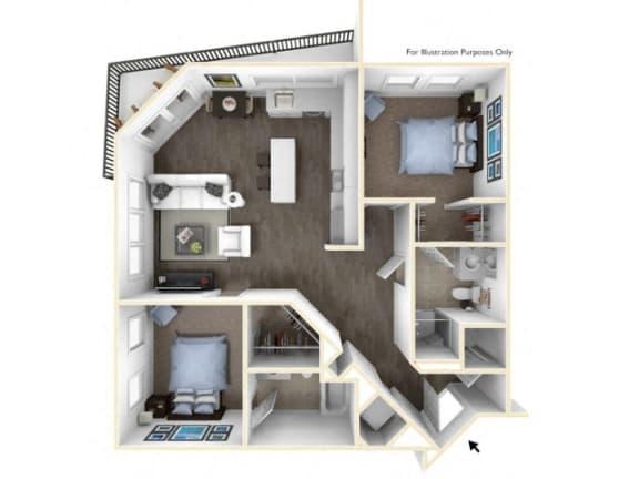 275.2B-B 3D Floor Plan at The George & The Leonard, Georgia, 30312