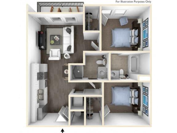 275.2J-B 3D Floor Plan at The George & The Leonard, Atlanta, GA, 30312