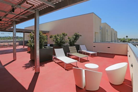 Rooftop sun deck  l Celsius Apartments for rent in Lemon Grove, CA