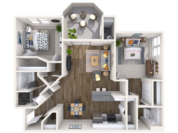 Floor Plan  Coral Renovated 3D Floor Plan at Biscayne Bay Apartments, Arizona