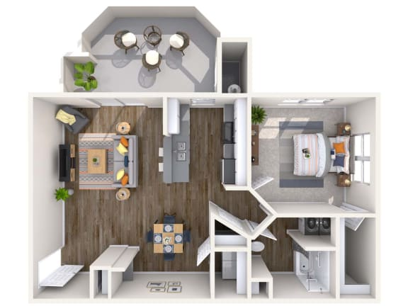 Floor Plan  Pearl Renovated 3D Floor Plan at Biscayne Bay Apartments, Chandler