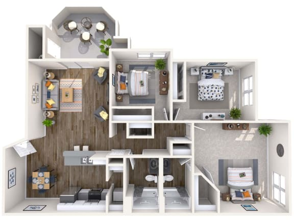 Floor Plan  Sapphire Renovated 3D Floor Plan at Biscayne Bay Apartments, Chandler, AZ, 85225