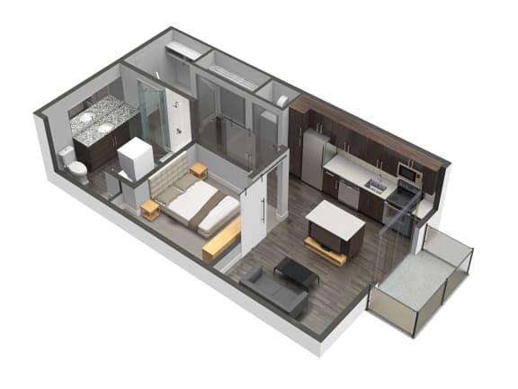 1 Bed 1 Bath Floor Plan at Spoke Apartments, Atlanta, 30307
