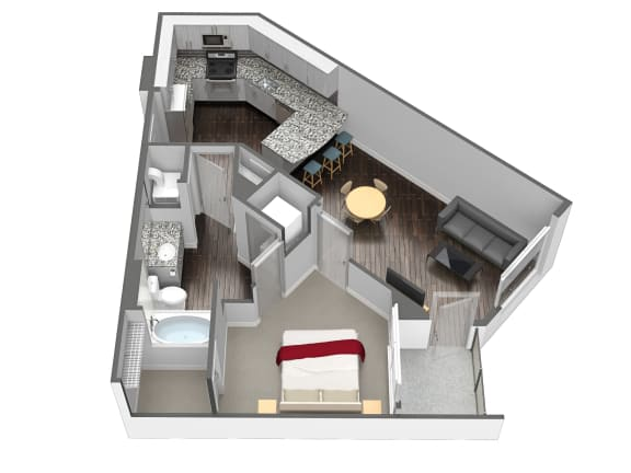 1 Bedroom 1 Bathroom Floor Plan at Spoke Apartments, Atlanta, Georgia