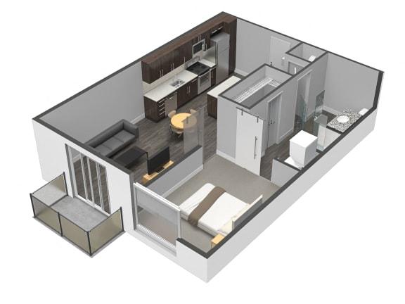 One Bed One Bath Floor Plan at Spoke Apartments, Atlanta