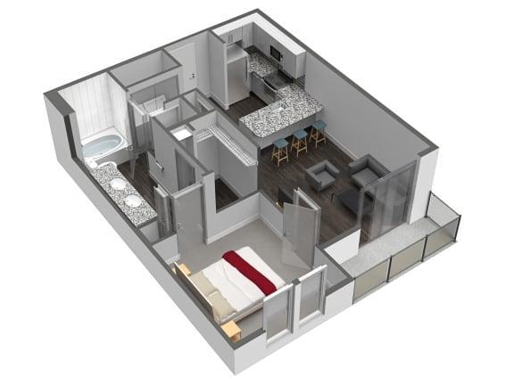 1 Bedroom 1 Bathroom Floor Plan at Spoke Apartments, Georgia