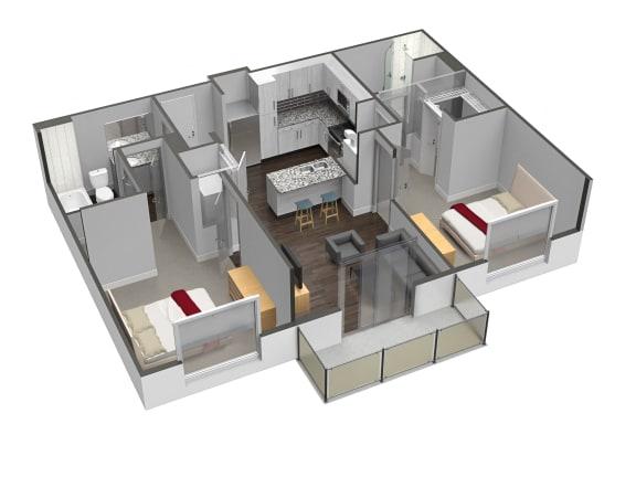 2 Bed 2 Bath Floor Plan at Spoke Apartments, Atlanta, GA, 30307