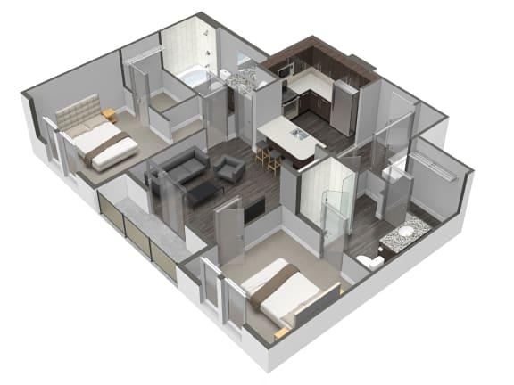 2 Bedroom 2 Bathroom Floor Plan at Spoke Apartments, Atlanta, GA