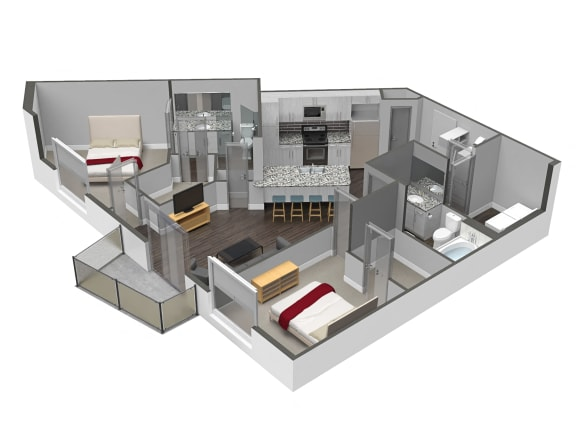 2 Bed 2 Bath Floor Plan at Spoke Apartments, Atlanta, 30307