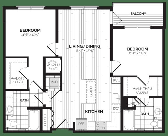 B1 Floor Plan at Rivergate, Woodbridge, VA, 22191