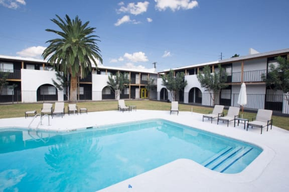pool pool patio exterior and landscaping at Fort Lowell Canyon Apartments in Tucson AZ