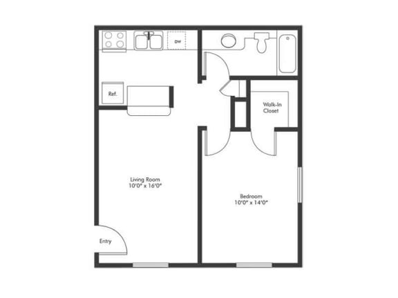 Floor Plan  Solstice 1 Bedroom Floorplan