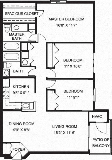 3 Bed, 2 Bath Floor Plan at Waterside at Reston, Reston, Virginia