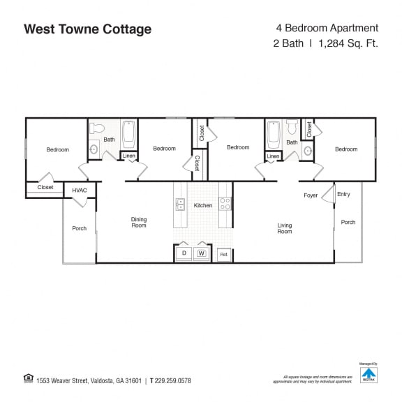 Four Bedroom Floor Plan at West Towne Cottages, Georgia, 31601