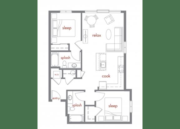 Madrona Floor Plan at Tivalli Apartments, Lynnwood