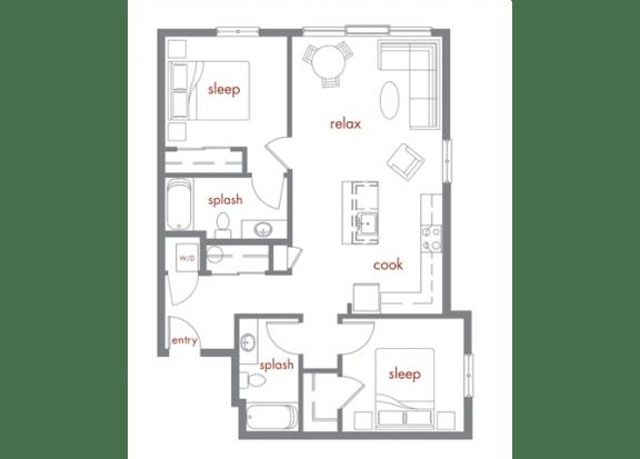 Floor Plan  Maple Floor Plan at Tivalli Apartments, Washington