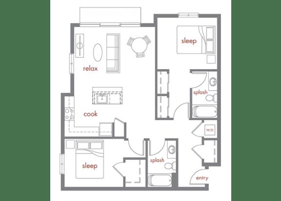 Floor Plan  Ponderosa Floor Plan at Tivalli Apartments, Lynnwood, WA, 98087