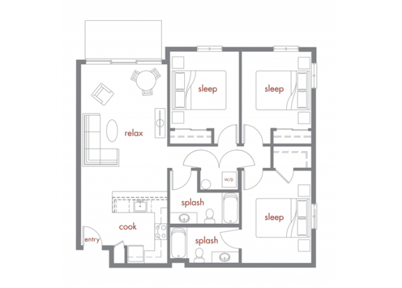Tamarack Floor Plan at Tivalli Apartments, Lynnwood