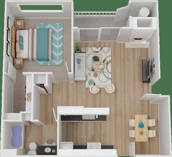 Floor Plan  A 1 Bed 1 bath Floor Plan at Marina Village Apartments, Nevada, 89434