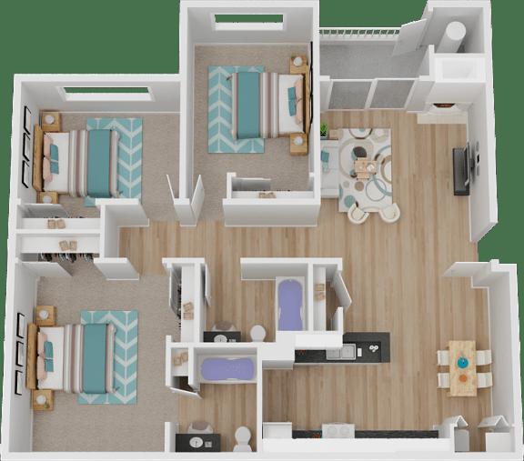3C 3 Bed 2 bath Floor Plan at Marina Village Apartments, Sparks, NV