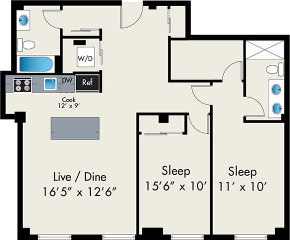 Floor Plan  two bedroom floor plan at the lofts at gin alley
