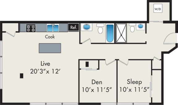 Floor Plan  One-Bedroom with Den Loft Floor Plan at 131 N Green St Chicago, IL 60607