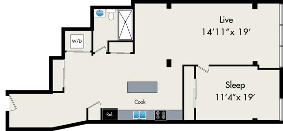 Floor Plan  One-Bedroom Loft Floor Plan at 131 N Green St Chicago, IL 60607