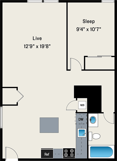 One-Bedroom Loft Style Floor Plan at the Lofts at Gin Alley